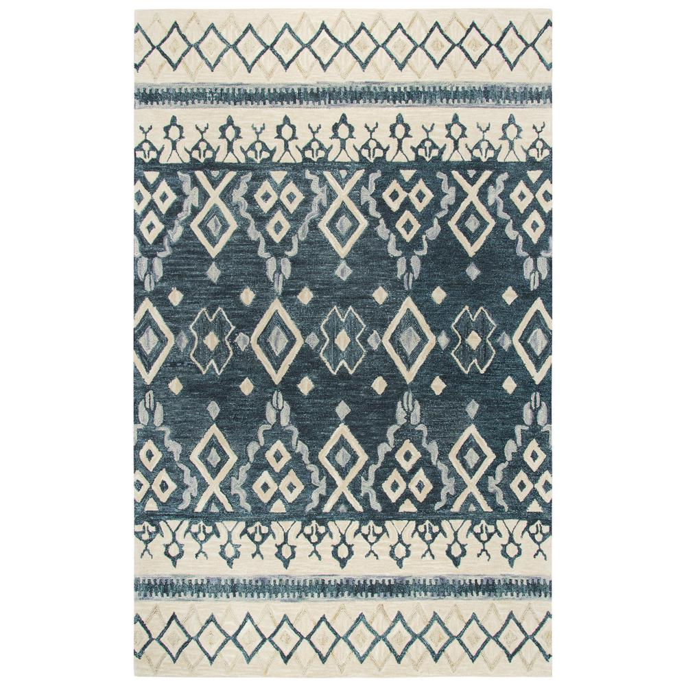 Opulent Blue and Beige Southwestern Hand Tufted Wool 8 ft. x