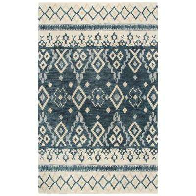 Opulent Blue and Beige Southwestern Hand Tufted Wool 8 ft. x 10 ft. Area Rug