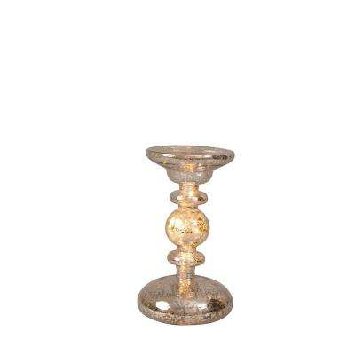 8 in. Mercury Glass Candle Holder with LED Light String