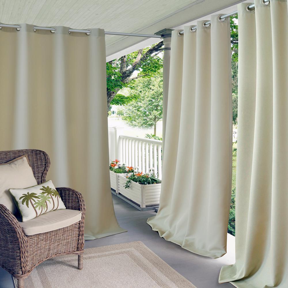 Semi-Opaque Connor 52 inch W x 108 inch L Indoor/Outdoor Solid Grommet Window...