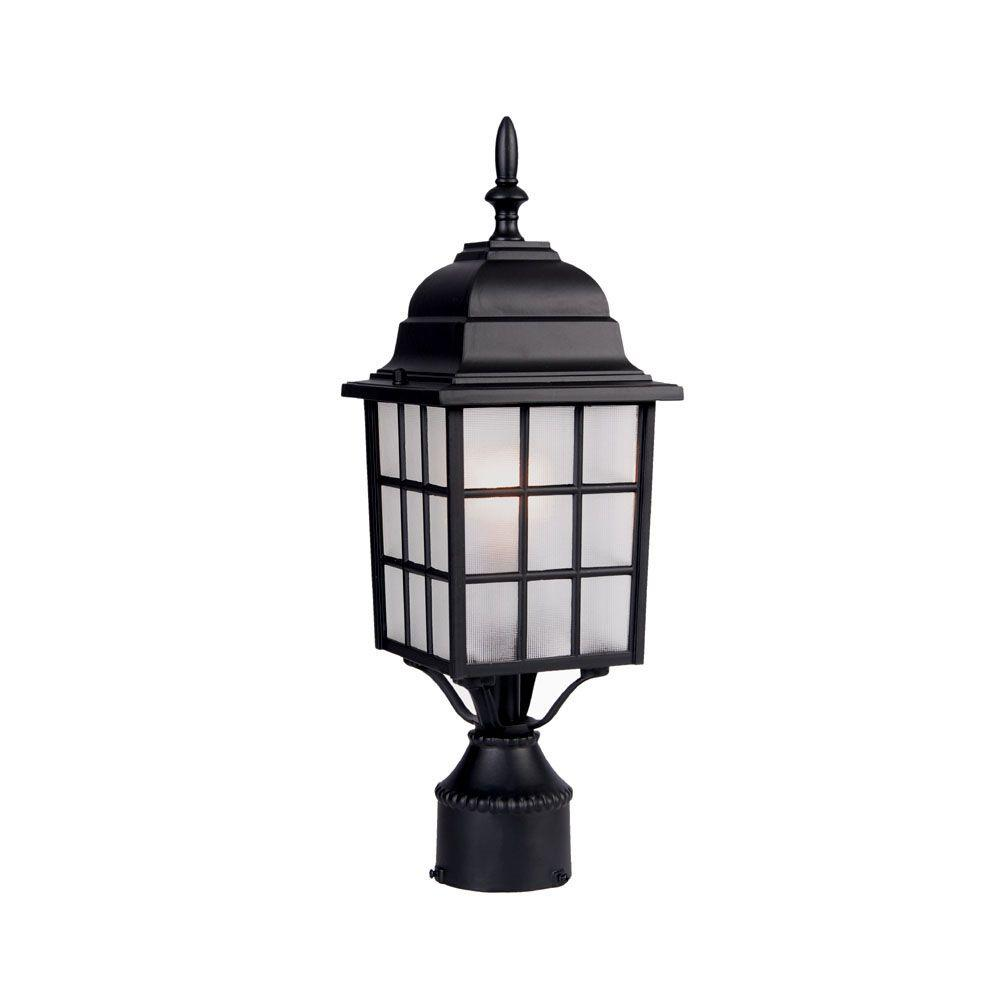 Nautica 1-Light Matte Black Outdoor Post-Mount Light Fixture