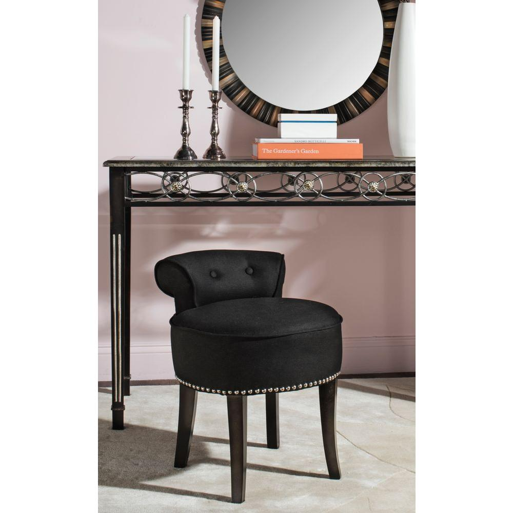 Safavieh georgia black linen vanity stool mcr4546j the home depot - Bedroom vanity chair with back ...