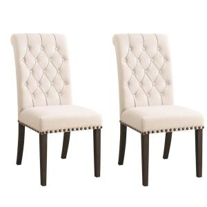 Phelps Diamond Tufting Beige and Smokey Black Upholstered Dining Side Chairs (Set of 2)