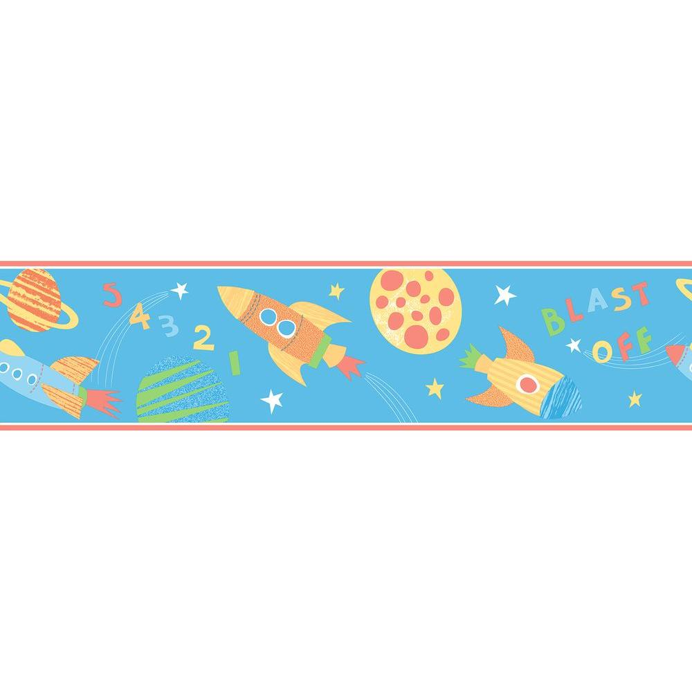 Brewster Blast Off Space Turquoise Wallpaper Border-2679-50112 - The ...