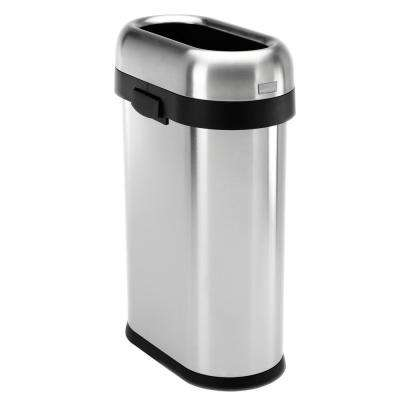 50-Liter/13 Gal. Heavy-Gauge Brushed Stainless Steel Slim Open Top Commercial Trash Can