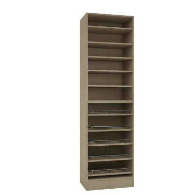 15 in. D x 24 in. W x 84 in. H Taupe Linen Melamine with 11-Shelves and Slide Outs Closet System Kit
