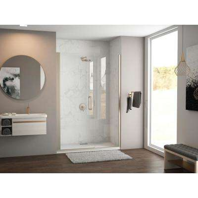 Illusion 38 in. to 39.25 in. x 70 in. Semi-Frameless Shower Door with Inline Panel in Brushed Nickel with Clear Glass