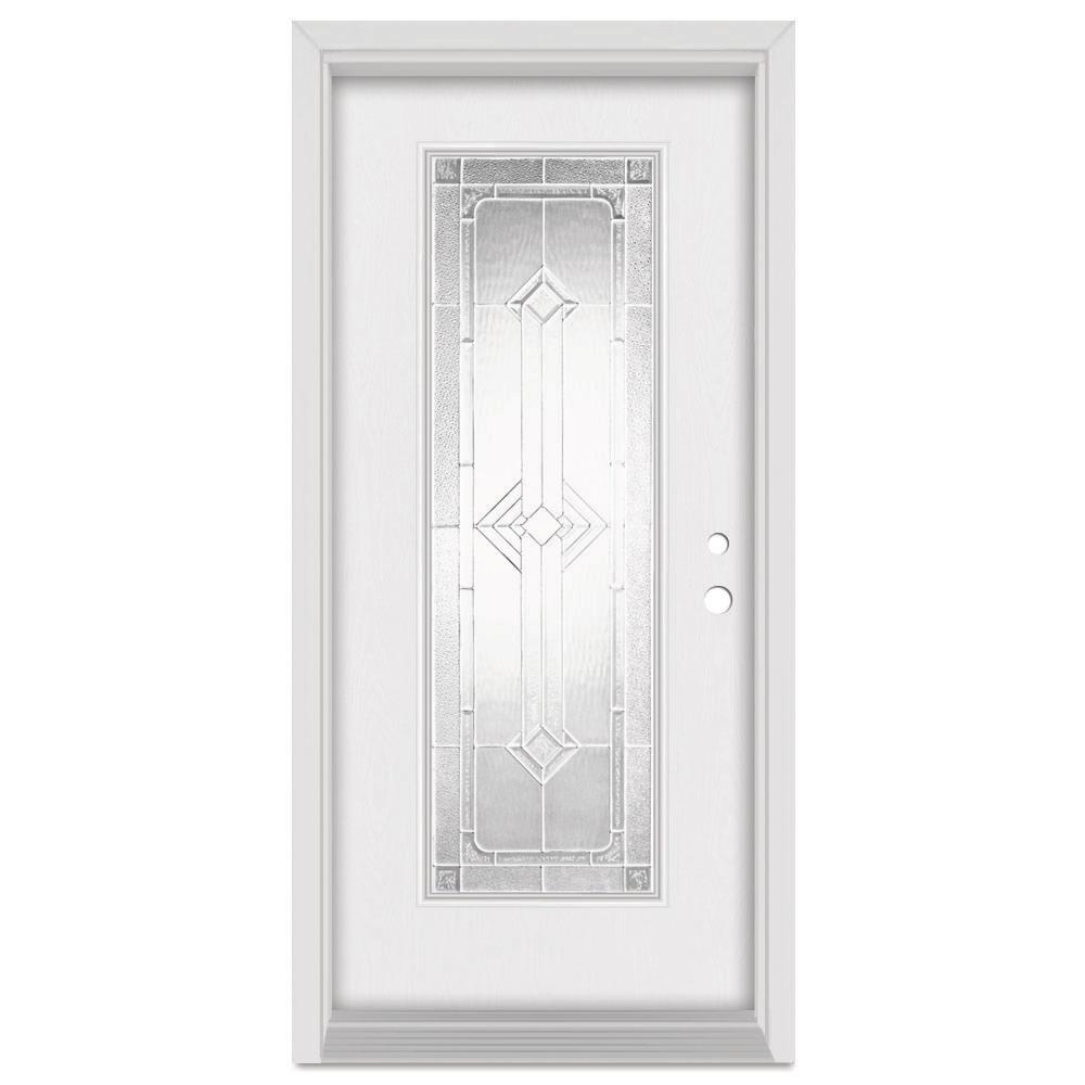 33.375 in. x 83 in. Neo-Deco Left-Hand Zinc Finished Fiberglass Mahogany Woodgrain Prehung Front Door Brickmould