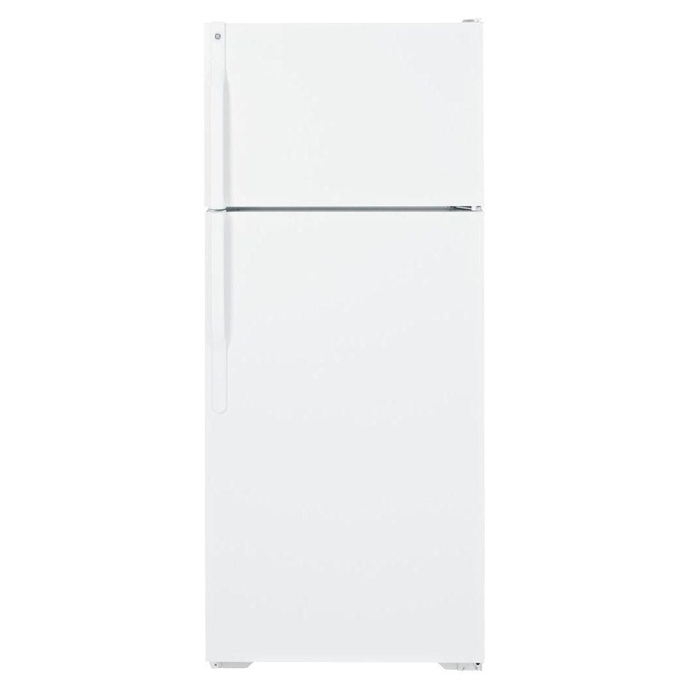 GE 28 in. W 18.1 cu. ft. Top Freezer Refrigerator in White