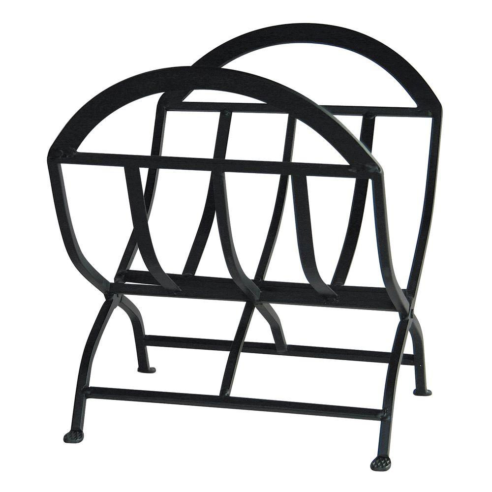 UniFlame 1.8 ft. Decorative Black Wrought Iron Firewood Rack