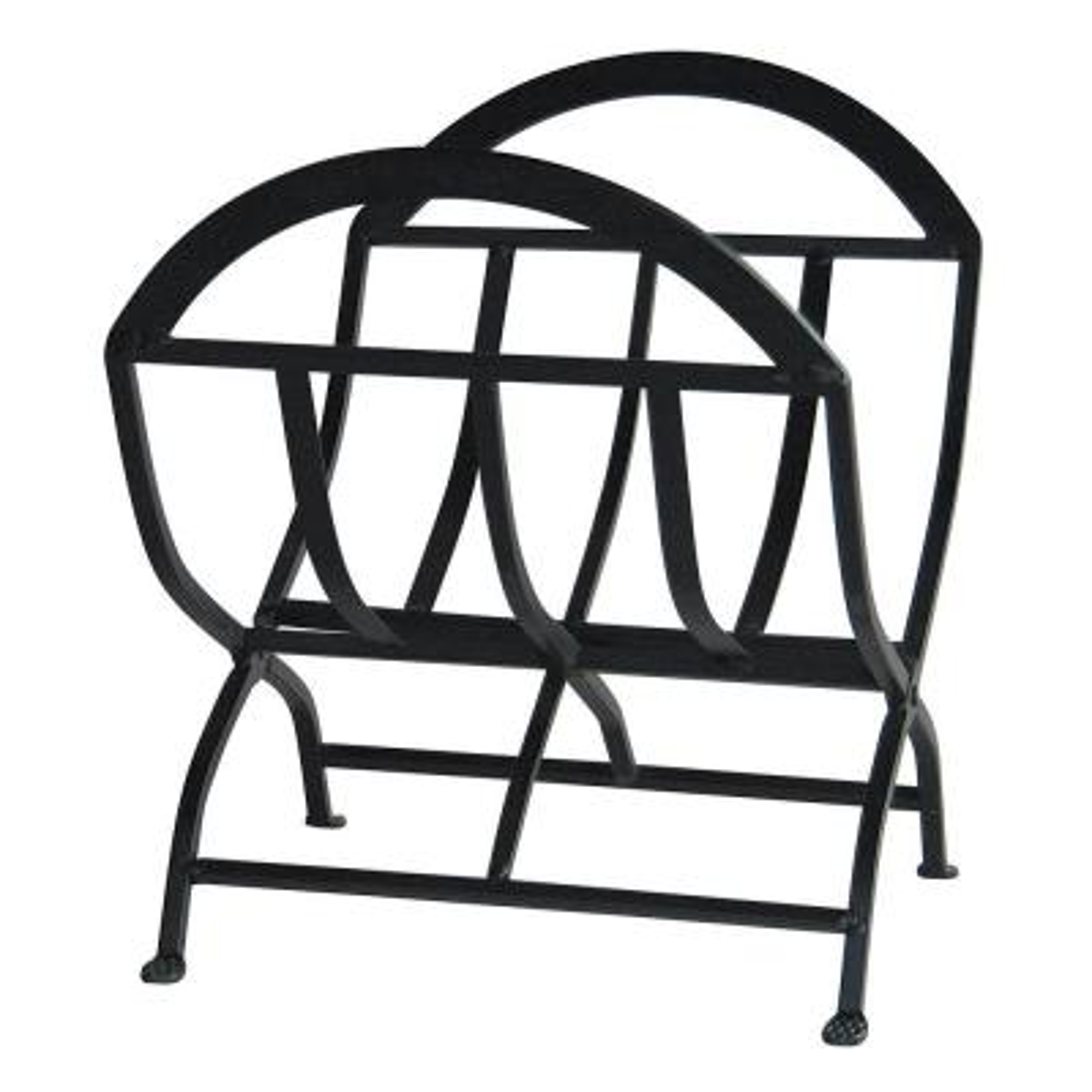 Black Wrought Iron 22 in. W Decorative Folding Firewood Rack