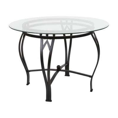 Clear Top/Black Frame Dining Table