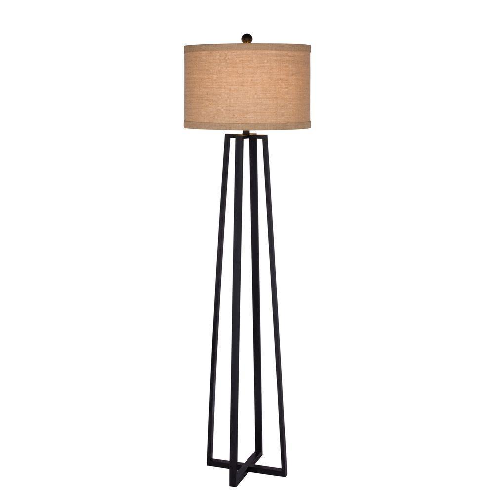 62 in. Black Molded Metal Floor Lamp
