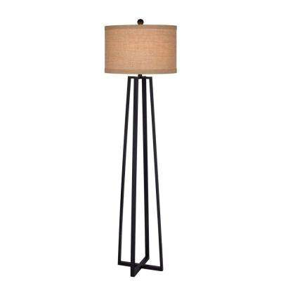 62 in. Black Molded Metal Floor Lamp