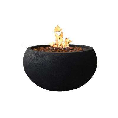 York 26.8 in. Round Concrete Natural Gas Fire Bowl in Baroque Black