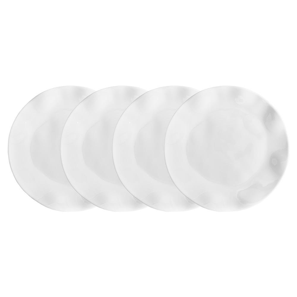 Ruffle 4-Piece White Melamine Salad Plate Set