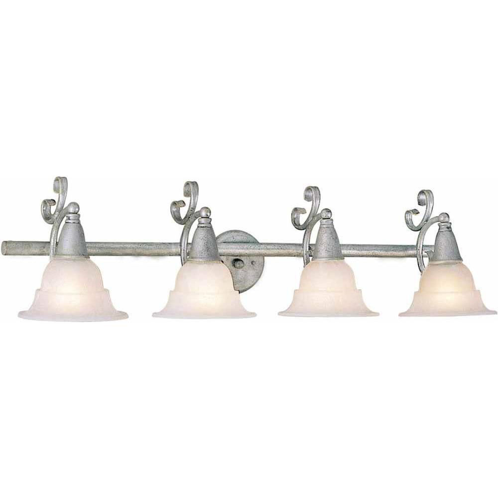 Lenor 4-Light Platinum Rust Incandescent Wall Bath Vanity Light