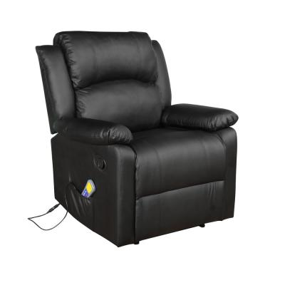 Black Power Massage Reclining Chair with Heat and Massage Heated Vibrating Suede