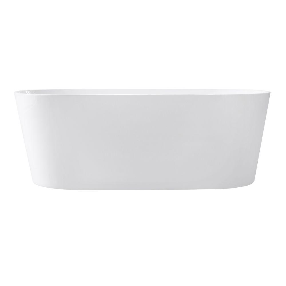 Aria 5.58 ft. Acrylic Center Drain Oval Bathtub in White Gloss
