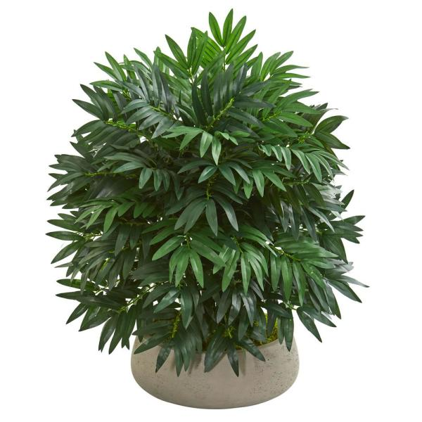 Indoor 30-In. Bamboo Palm Artificial Plant in Stone Planter
