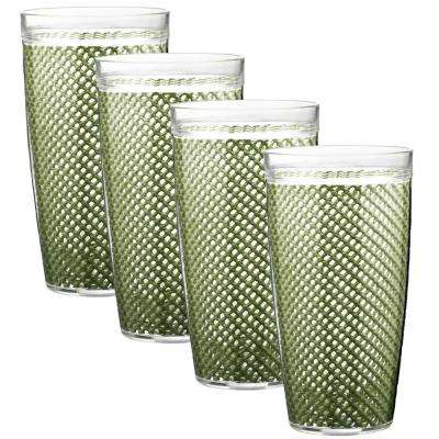 Fishnet 22 oz. Kale Green Insulated Drinkware (Set of 4)
