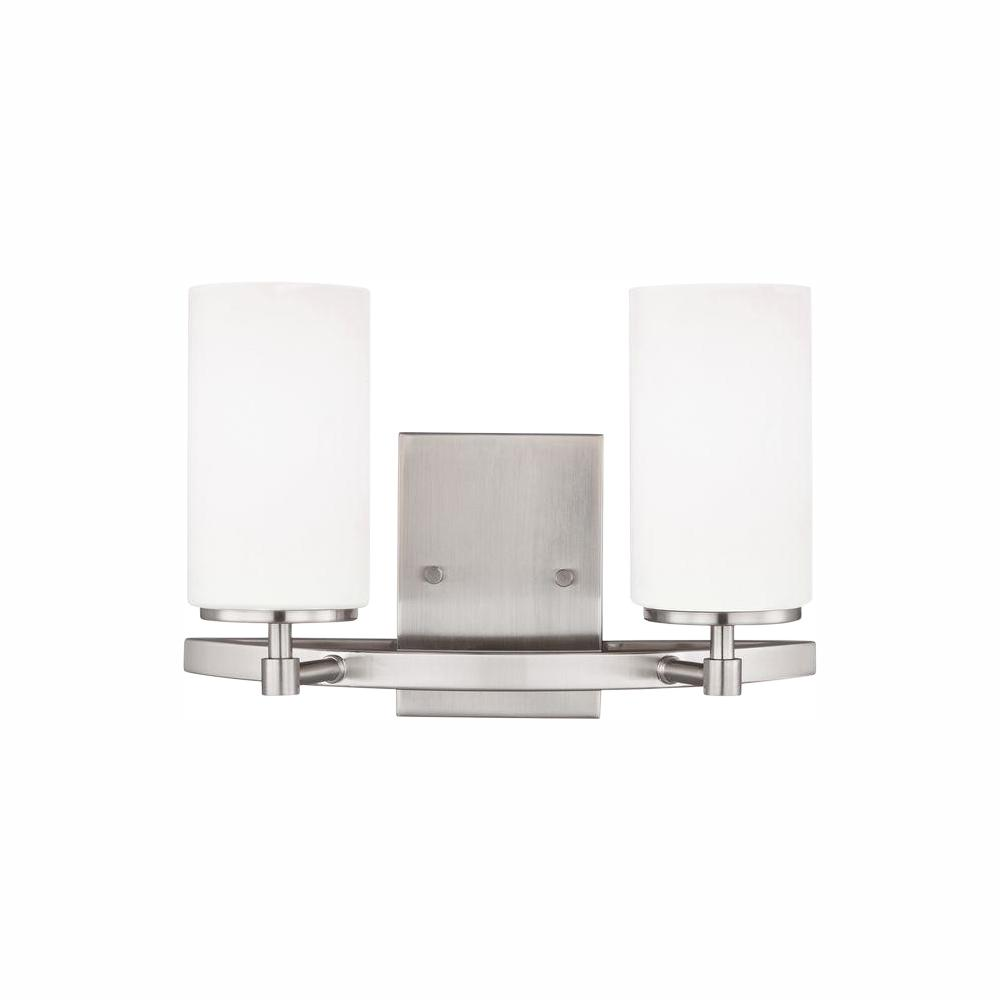Sea Gull Lighting Alturas 2-Light Brushed Nickel Vanity Light with LED Bulb