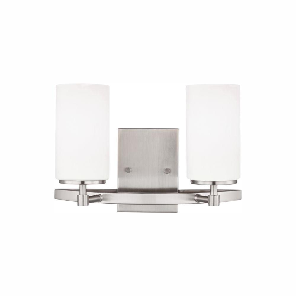 Alturas 2-Light Brushed Nickel Vanity Light with LED Bulb
