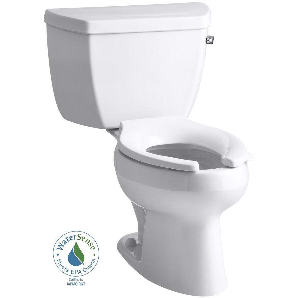 KOHLER Wellworth 2-piece 1 GPF High-Efficiency Elongated Toilet in White