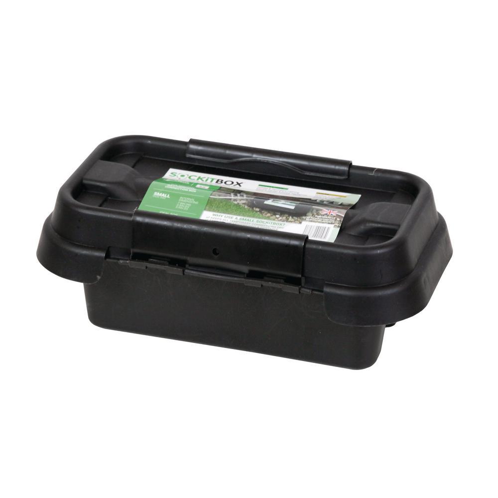 SOCKiT Box 11 in. Weatherproof Powercord Connection Box, Black