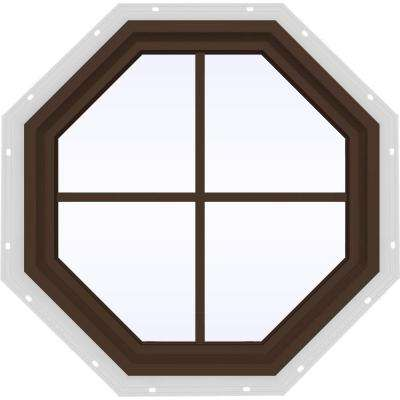 23.5 in. x 23.5 in. V-4500 Series Fixed Octagon Vinyl Window with Grids - Brown