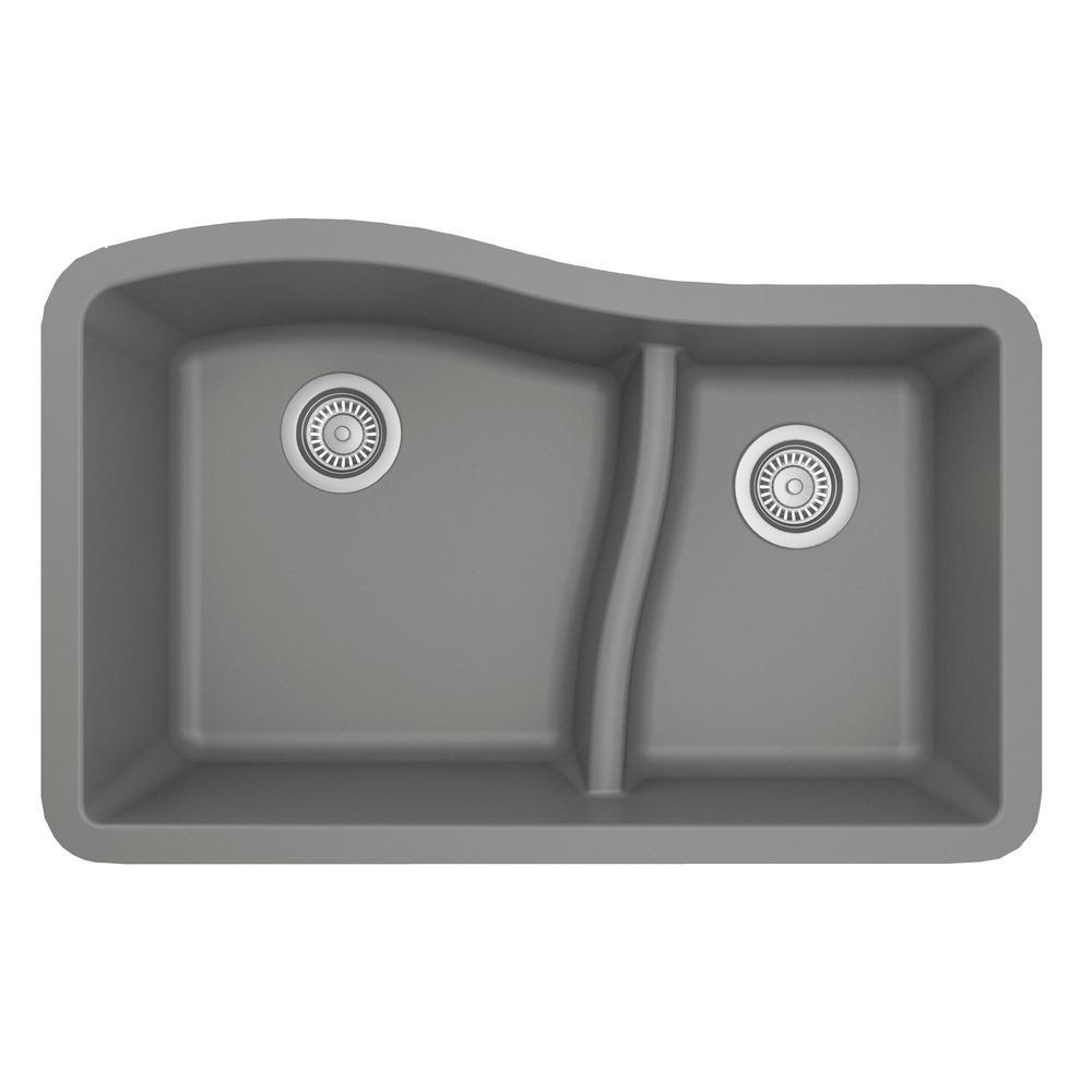 Karran Undermount Quartz Composite 32 in. 60/40 Double Bowl Kitchen Sink in Grey