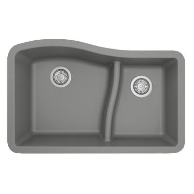 Undermount Quartz Composite 32 in. 60/40 Double Bowl Kitchen Sink in Grey