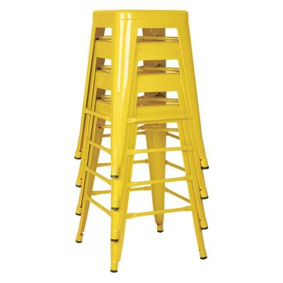 24 in. Yellow Steel Backless Bar Stool (Set of 4)