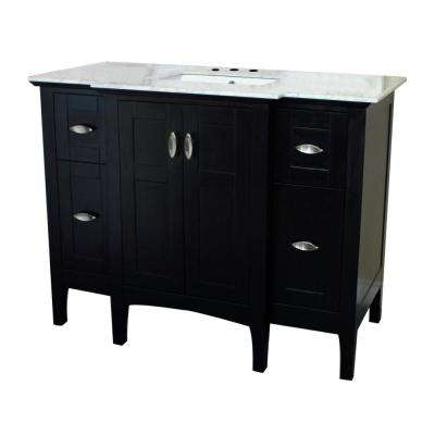 Oroville 45 in. W x 22 in. D Single Vanity in Espresso with Marble Vanity Top in White with White Basin