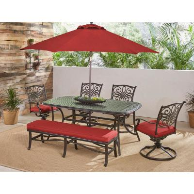 Traditions 6-Piece Aluminum Outdoor Patio Dining Set with Red Cushions and Umbrella