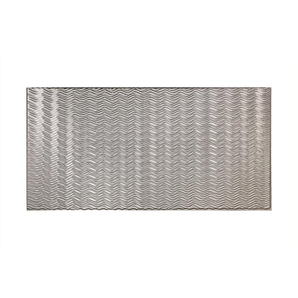 Fasade Current Horizontal 96 in. x 48 in. Decorative Wall Panel in Brushed Aluminum