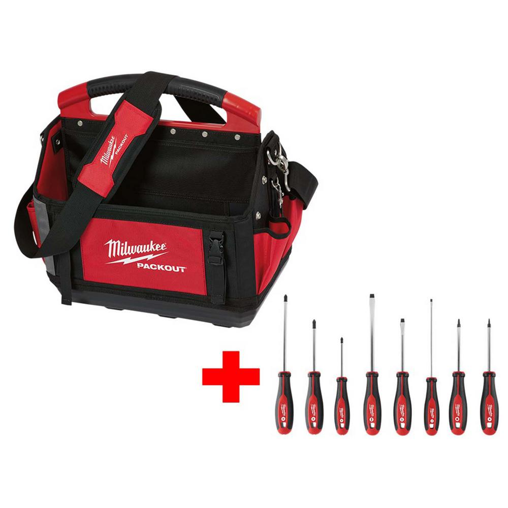 Milwaukee 15 in. Packout Tote w/ Screwdriver Set (8-Piece)