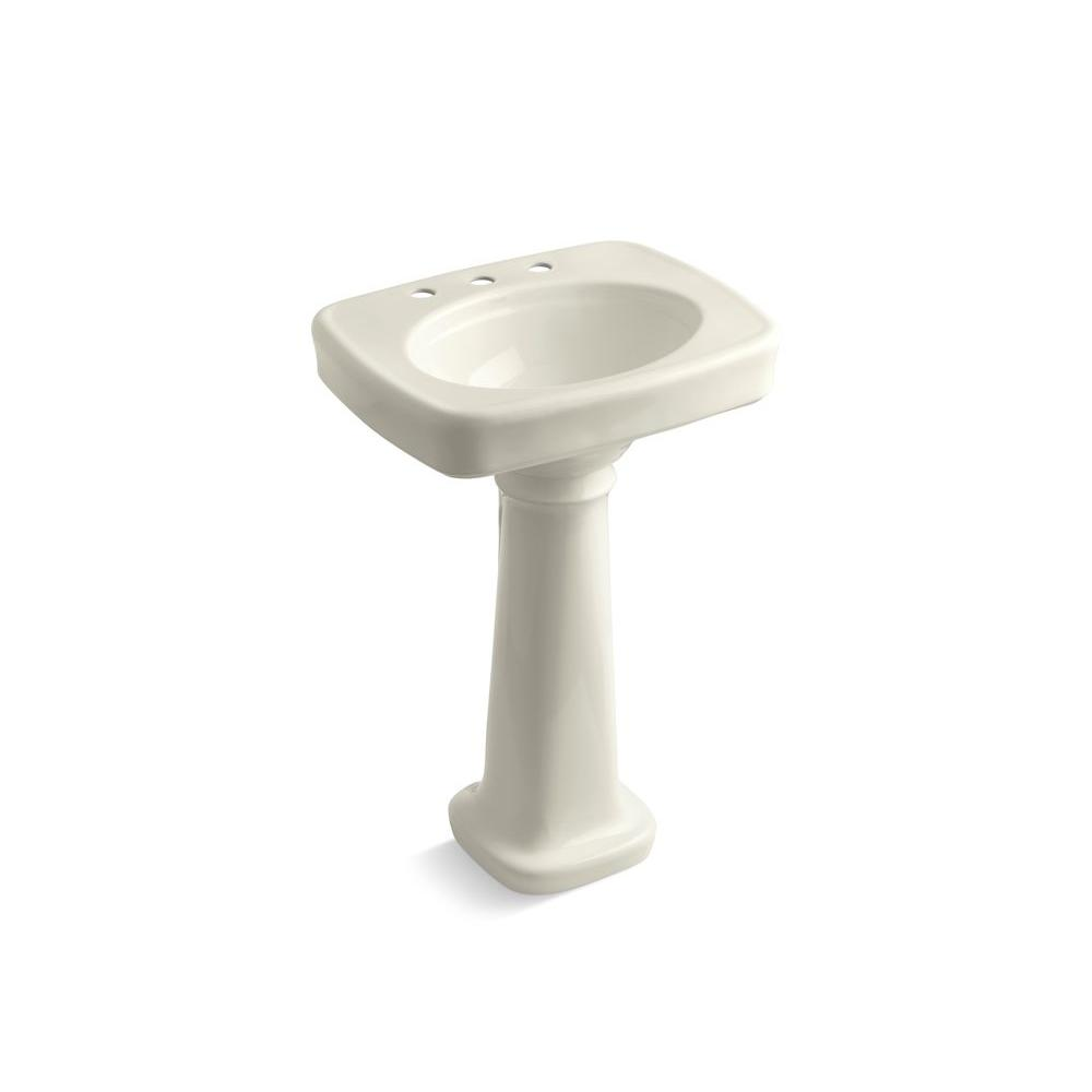 Bancroft Vitreous China Pedestal Bathroom Sink Combo in Biscuit with Overflow