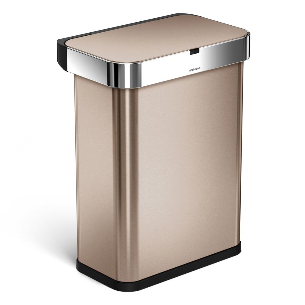 simplehuman 15.3 Gal. Stainless Steel Rectangular Sensor Trash Can with Voice and Motion Control