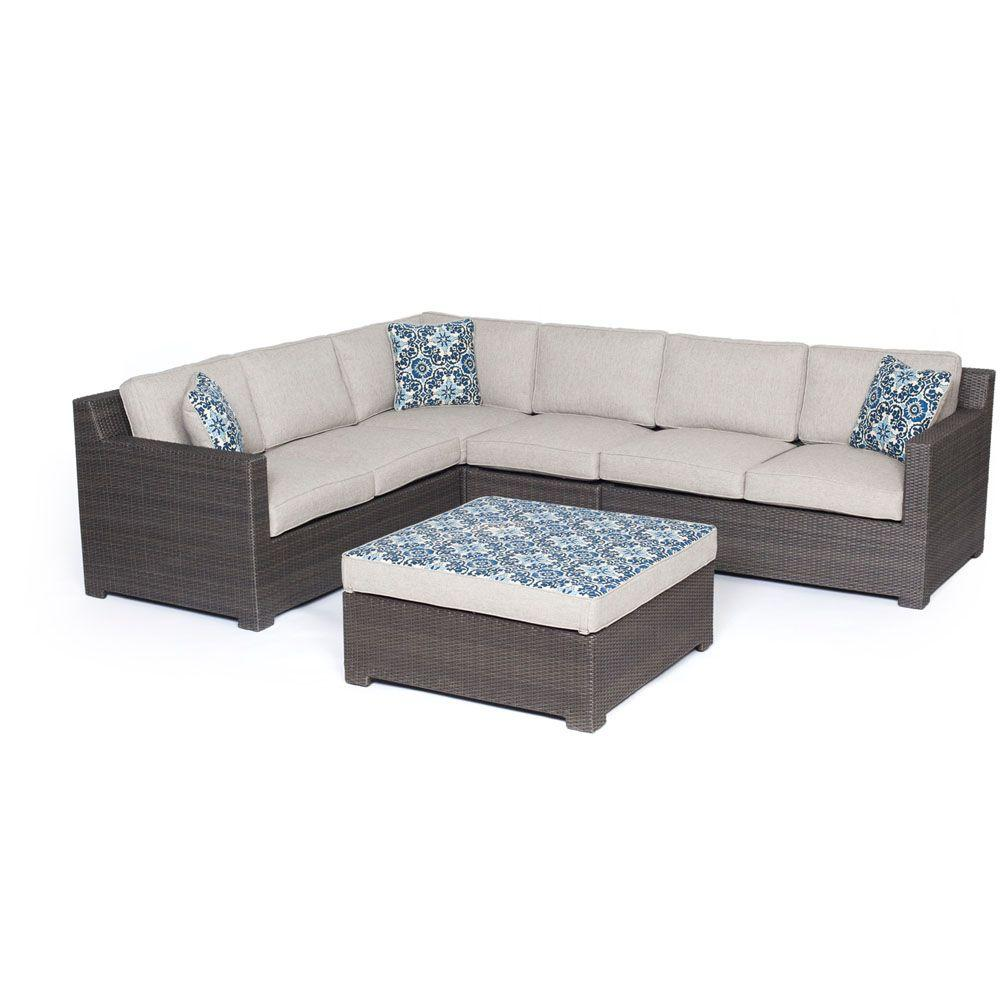 Metropolitan 5-Piece All-Weather Wicker Patio Deep Seating Set with Silver