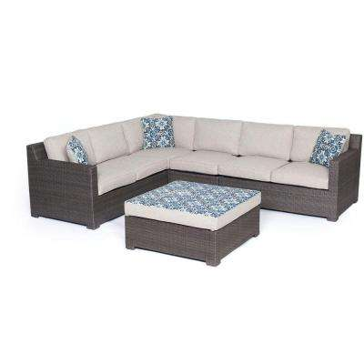 Metropolitan 5-Piece All-Weather Wicker Patio Deep Seating Set with Silver Lining Cushions