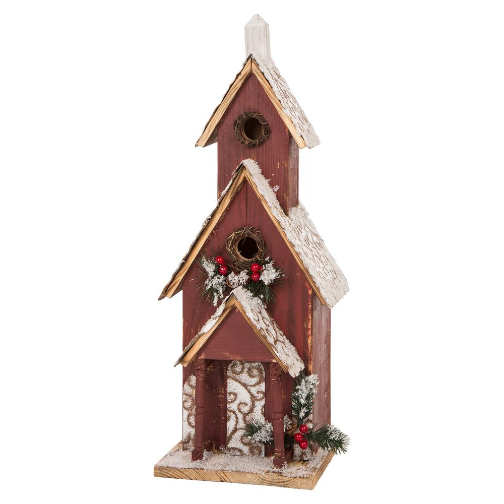 Glitzhome 23 43 In H Oversized Wooden Church Birdhouse 1120203129 The Home Depot