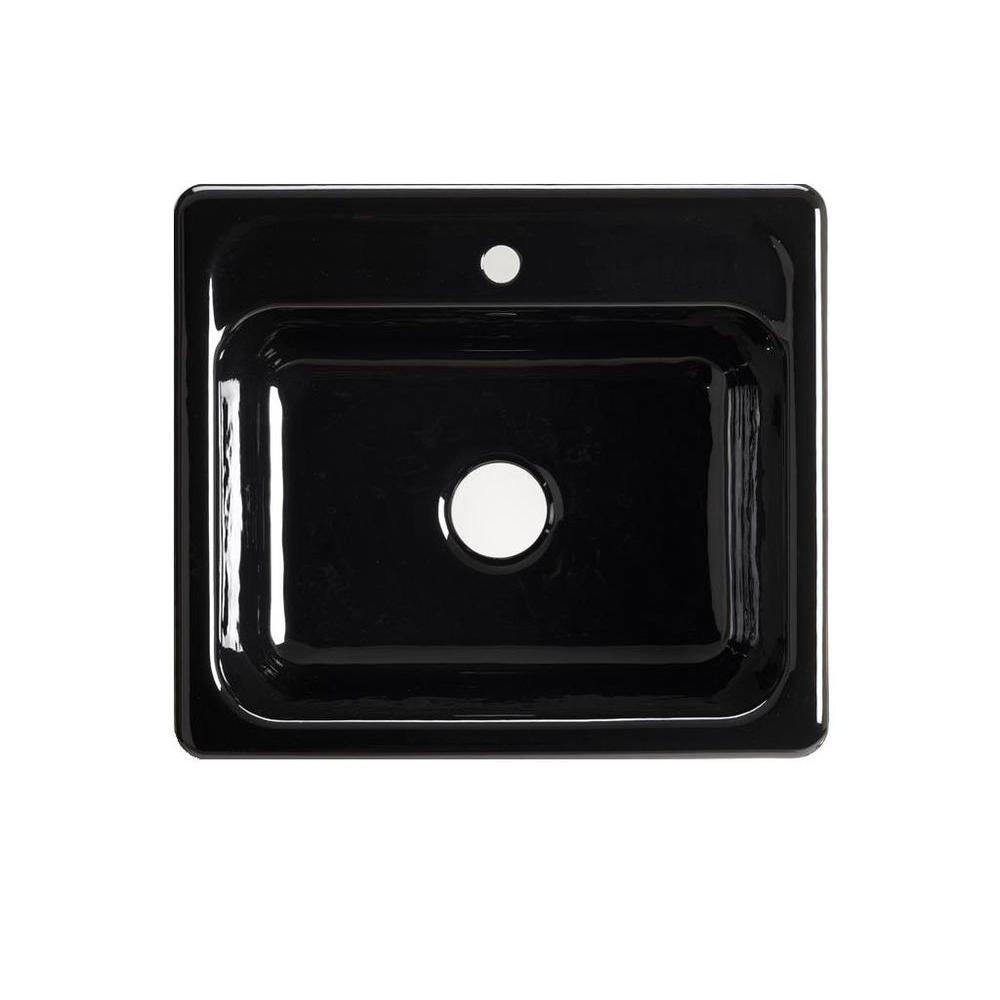 KOHLER Mayfield Drop-In Cast-Iron 25 in. 1-Hole Single Bowl Kitchen Sink in Black Black