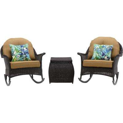 Saros 3-Piece Rocking Steel Outdoor Patio Conversation Set with Tan Cushions