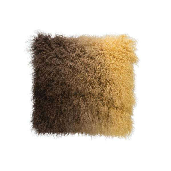Brown Ombre Tibetan Lamb Fur 20 in. x 20 in. Throw Pillow