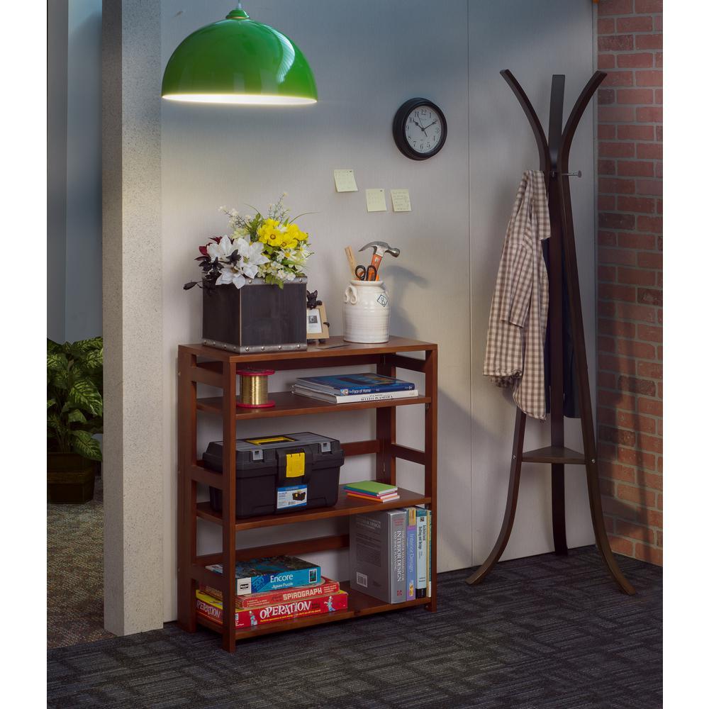 Flip Flop Cherry 3-Shelf 30 in. Wide Folding Bookcase