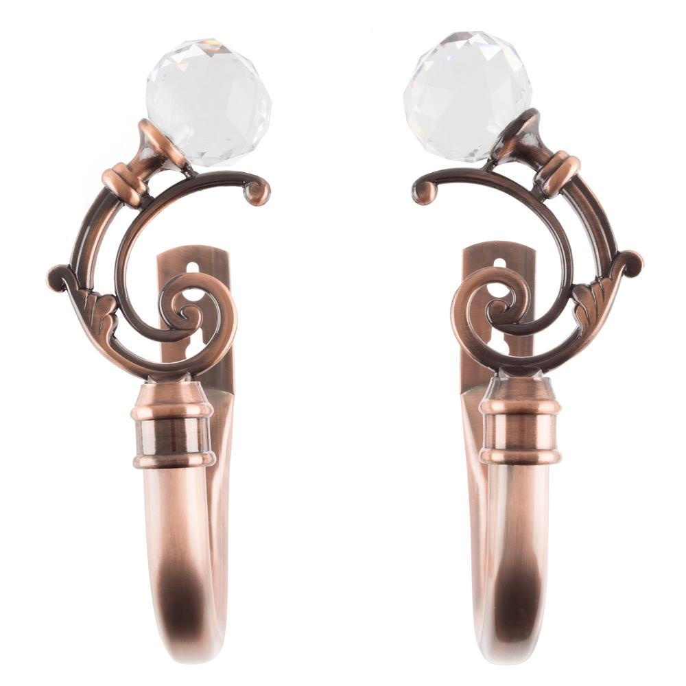 Lavish Home Crystal Ball Holdback Pair in Copper
