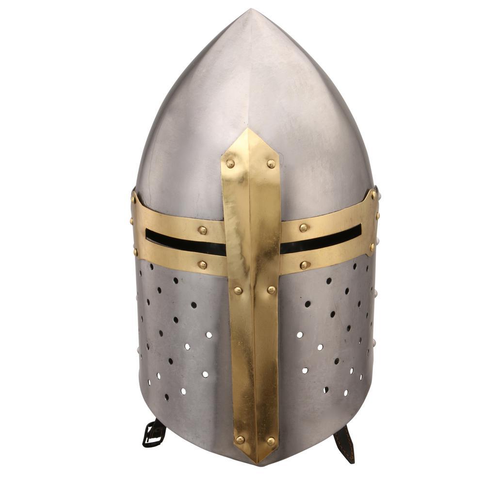 Medieval Large Gold and Silver Metal Crusader Helmet