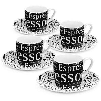 Konitz 4-Piece Writing on Black Porcelain Espresso Cup Set with Saucers