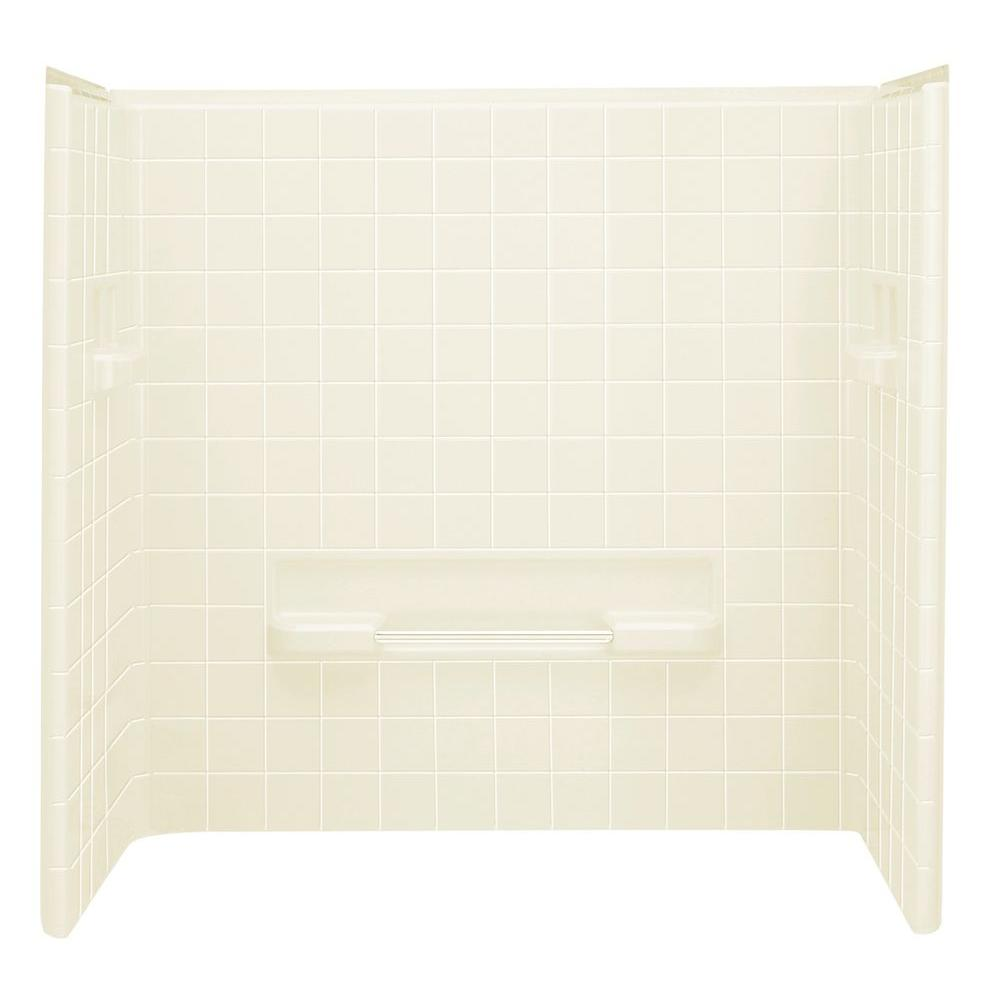 STERLING All Pro 30 in. x 60 in. x 60 in. 3-piece Direct-to-Stud Tub Wall Set Backer in Biscuit